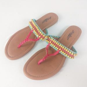 Lucky Brand Sandals Beaded Multi-Color Colorful